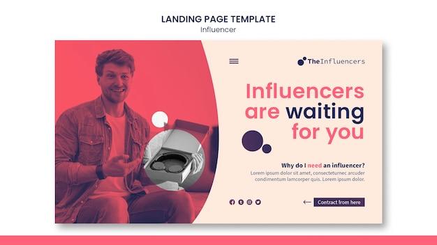 Design do modelo do influenciador da página de destino