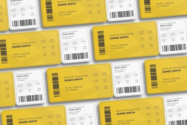 Design elegante de cartão de embarque com canto arredondado ou maquete de passagem de avião