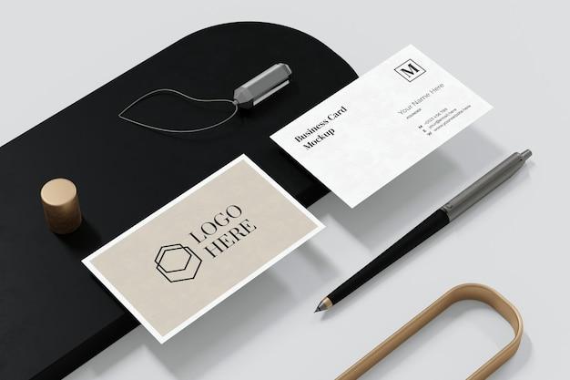 Design elegante de maquete de cartão de visita em renderização 3d