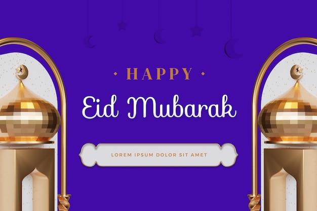 Design feliz de eid mubarak com maquete de renderização em 3d