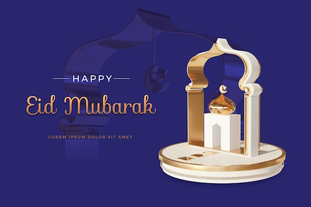 Design feliz eid mubarak com modelo de renderização 3d