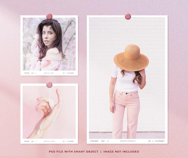 Design feminino de maquete de conjunto de molduras para fotos Psd Premium