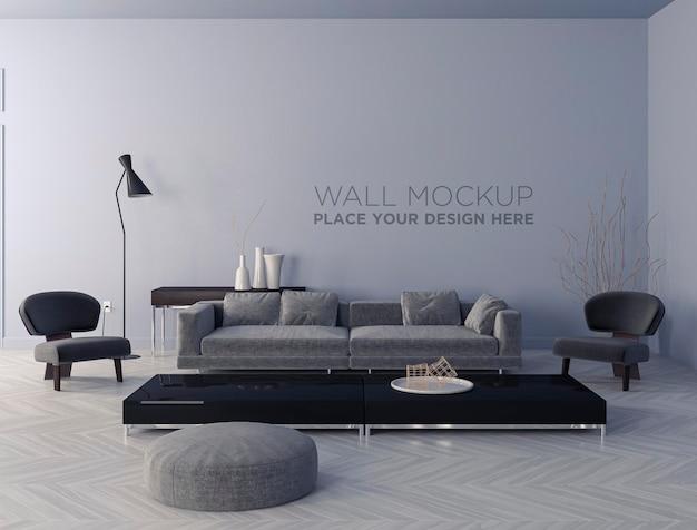 Design interior da maquete de parede da sala de estar