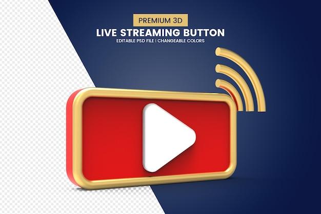 Design isolado de botão de transmissão ao vivo 3d