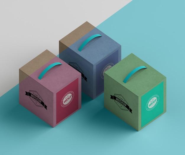 Design isométrico caixas de papelão de alto ângulo