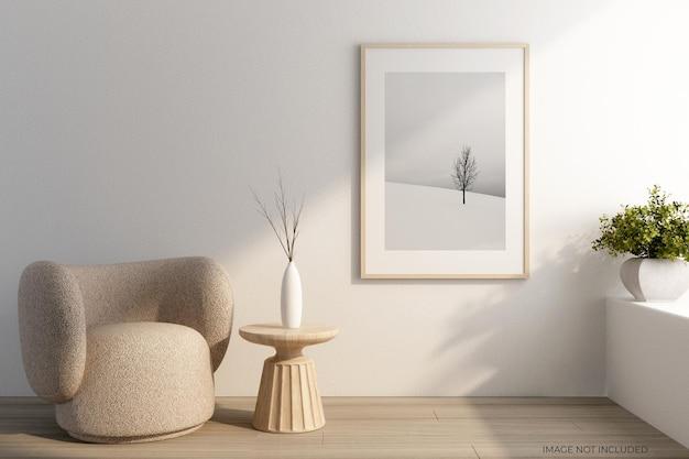 Design minimalista da maquete das molduras da sala de estar em 3d