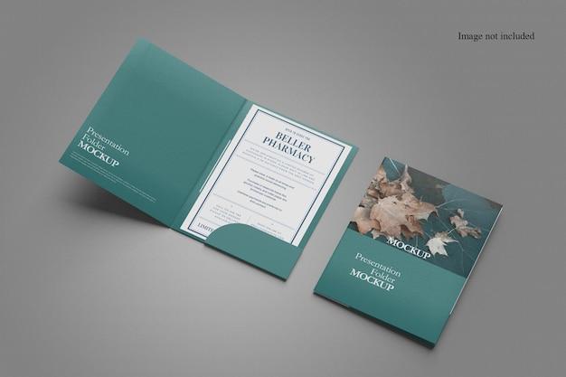 Design minimalista de maquete de duas pastas