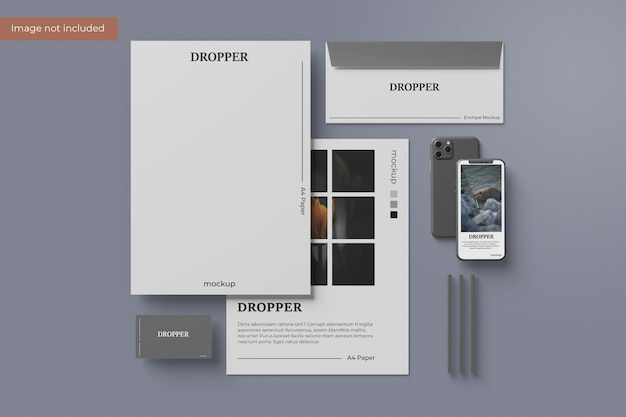 Design minimalista de maquete de papelaria em renderização 3d