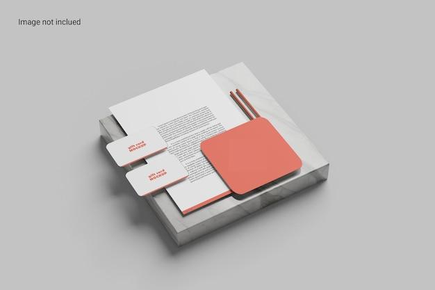 Design minimalista de maquete de papelaria