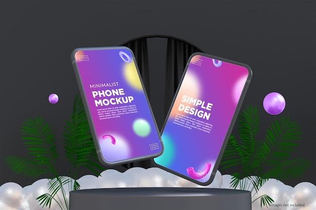 Design minimalista de maquete de telefone no modo escuro