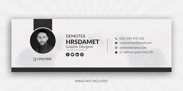 Design minimalista de modelo de assinatura de e-mail ou rodapé de e-mail e capa de mídia social pessoal