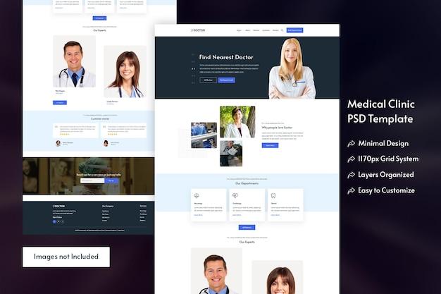 Design moderno da página de destino para consultas médicas