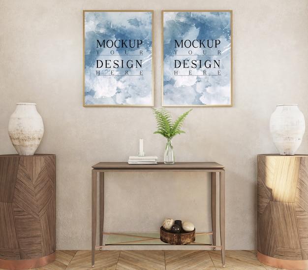 Design moderno da sala de estar com moldura de maquete e console
