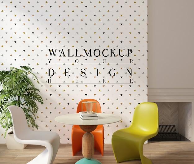 Design moderno da sala de jantar com parede de maquete