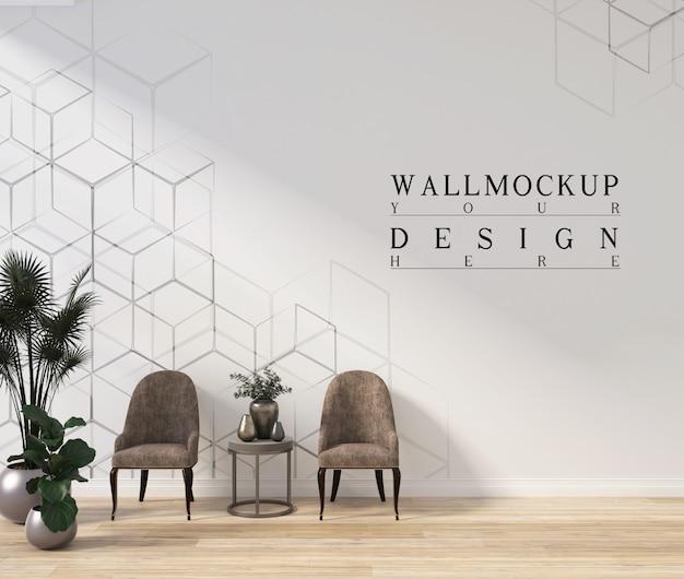Design moderno de sala de estar branca com parede de maquete e poltronas