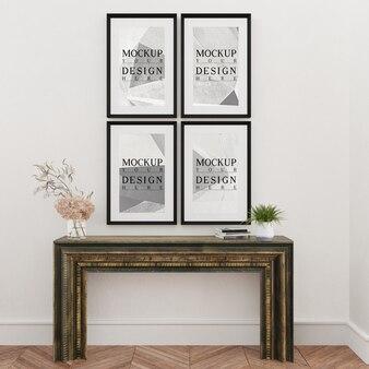 Design moderno de sala de estar com moldura de maquete e mesa de console