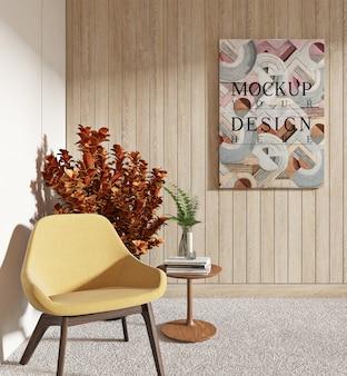 Design moderno de sala de estar com moldura de maquete