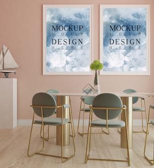 Design moderno de sala de jantar com moldura de maquete