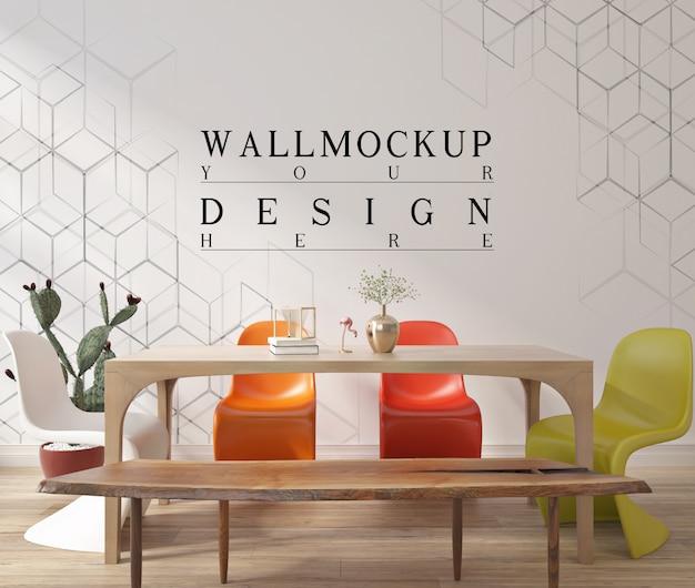 Design moderno de sala de jantar contemporânea com parede de maquete