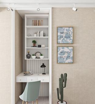 Design moderno e simples da sala de estudo com moldura de maquete