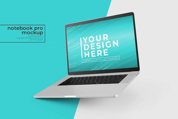 Design pessoal de alta qualidade, trocável, de mock-up de laptop pessoal na posição inclinada para a esquerda
