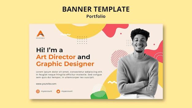 Design plano do modelo de banner de portfólio