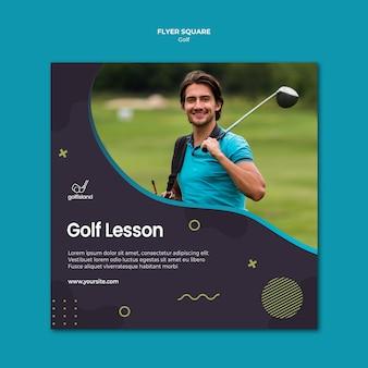 Design quadrado de golfe praticando flyer