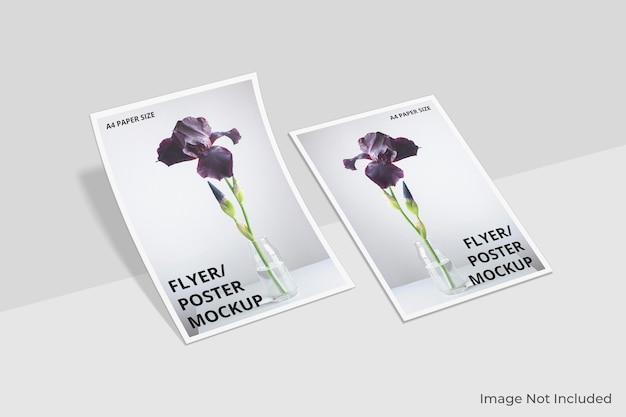 Design realista de maquete de folheto a4