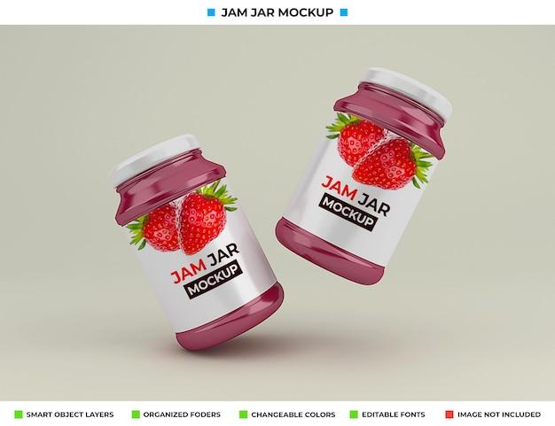 Design realista de maquete de frasco de geléia de vidro