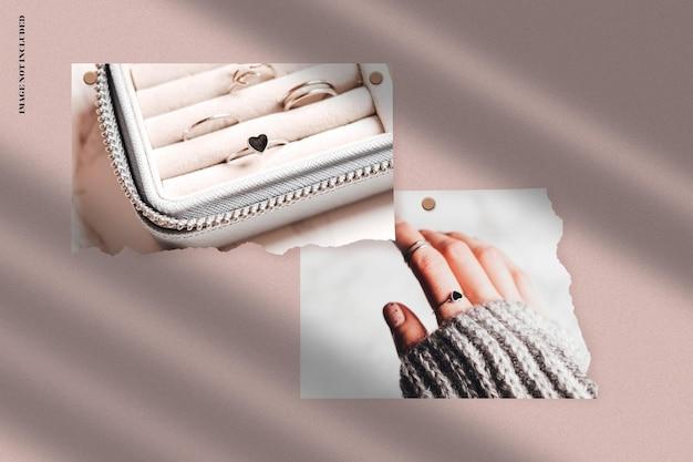 Design realista de maquete de moldura de papel rasgado