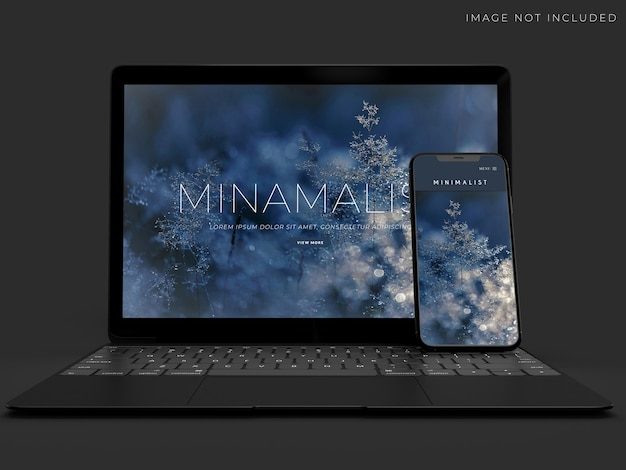 Design realista de maquete para laptop e smartphone
