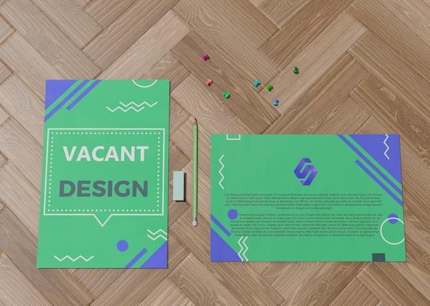Design vazio verde para papel de mock-up de negócios de empresa de marca