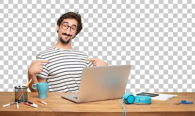 Designer gráfico do homem farpado novo. apontando e mostrando o gesto
