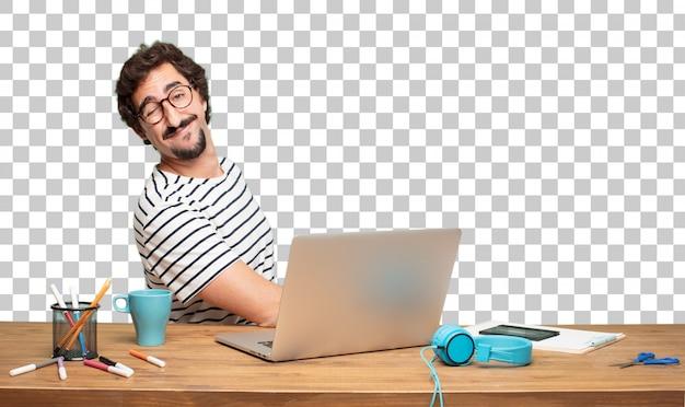 Designer gráfico do homem farpado novo. conceito do olho da piscadela