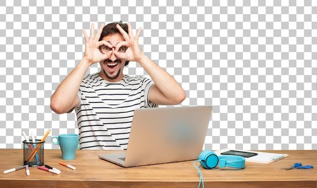 Designer gráfico do homem farpado novo. sinal de olho mágico