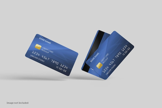 Designs de maquete de cartão de crédito em 3d rendeirngs em 3d rendeirng
