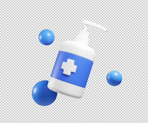 Desinfetante para mãos com ilustração 3d