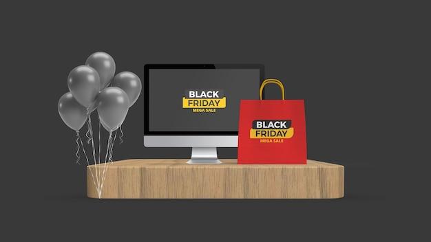 Desktop e sacola de compras na maquete do pódio