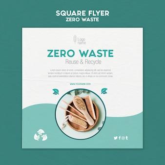 Desperdício zero panfleto quadrado