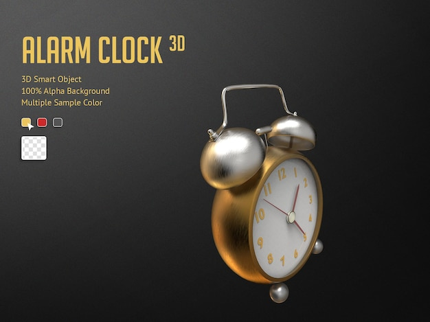 Despertador 3d realístico dourado