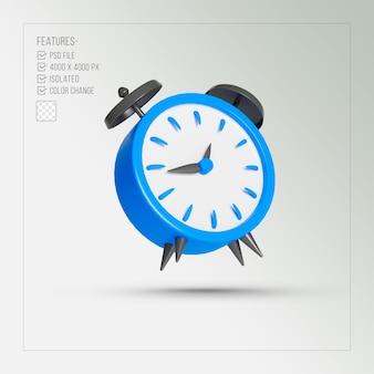 Despertador azul renderização 3d isolada