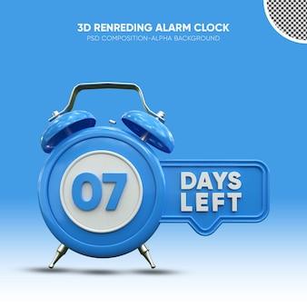 Despertador com renderização 3d azul em 07 dias restantes