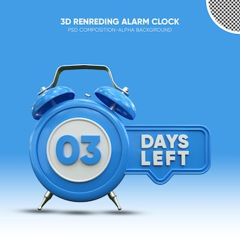 Despertador com renderização 3d azul faltando 03 dias
