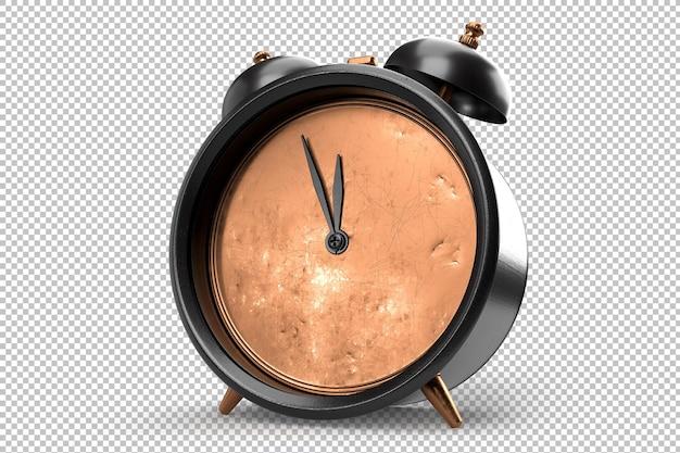 Despertador vintage sobre fundo branco. isolado. renderização 3d