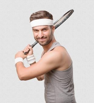Desportivo homem com raquete de tênis