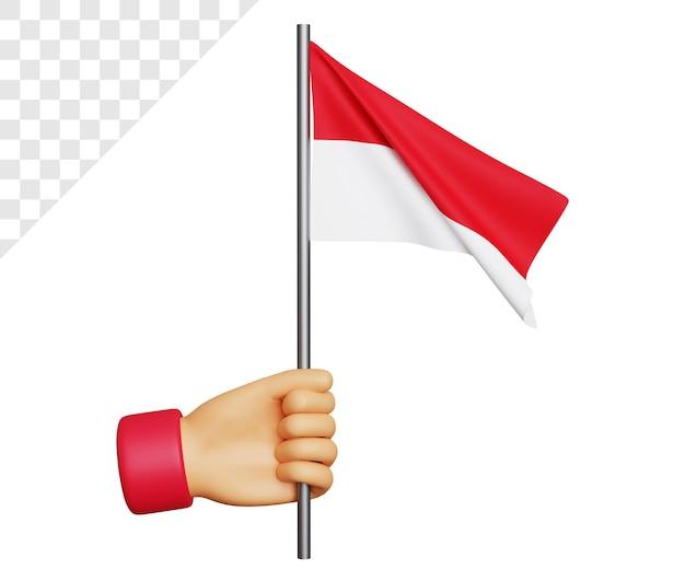 Dia da independência da indonésia 3d com a mão segurando a bandeira da indonésia
