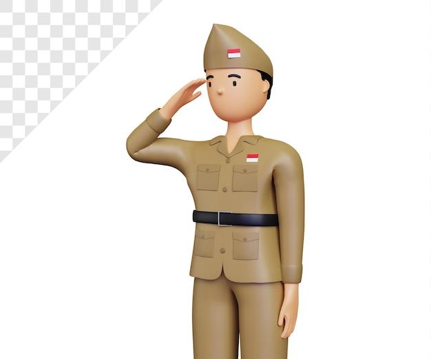 Dia da independência da indonésia 3d respeitando a pose do exército