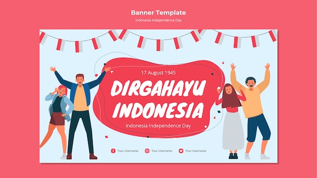 Dia da independência da indonésia banner design