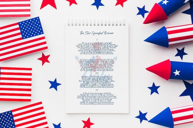 Dia da independência da vista superior com maquete