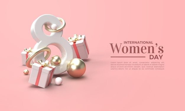 Dia da mulher 3d render com caixa de presente de luxo